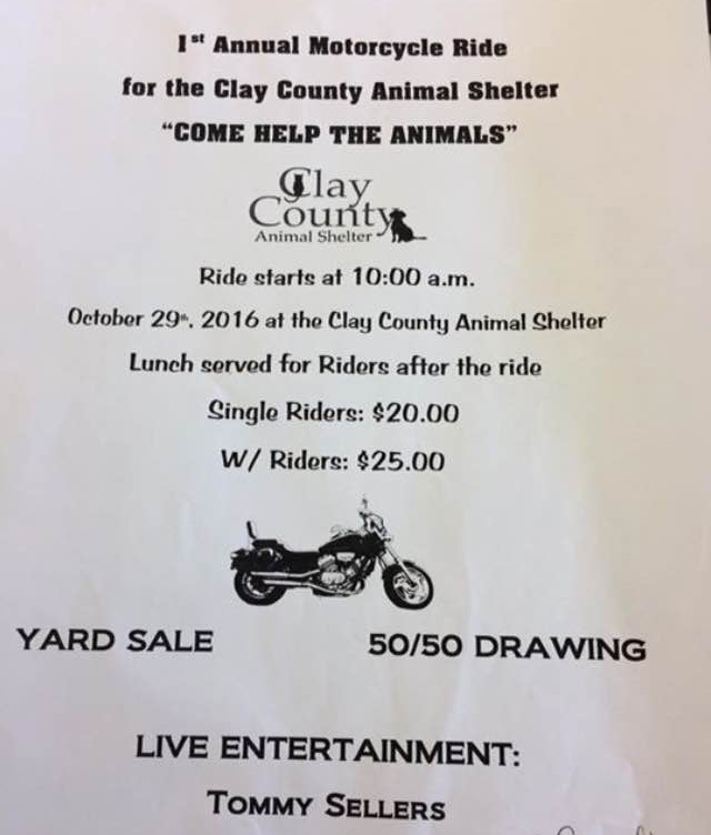 1st Annual Motorcycle Ride for Clay County Animal Shelter @ Clay County Animal Shelter | Ashland | Alabama | United States