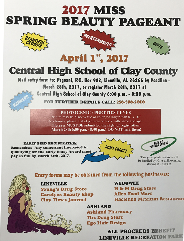 2017 Miss Spring Beauty Pageant @ Central HS of Clay County | Lineville | Alabama | United States