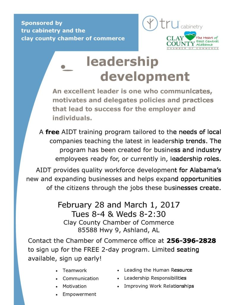 AIDT Leadership Development Training @ Clay County Chamber office | Lineville | Alabama | United States