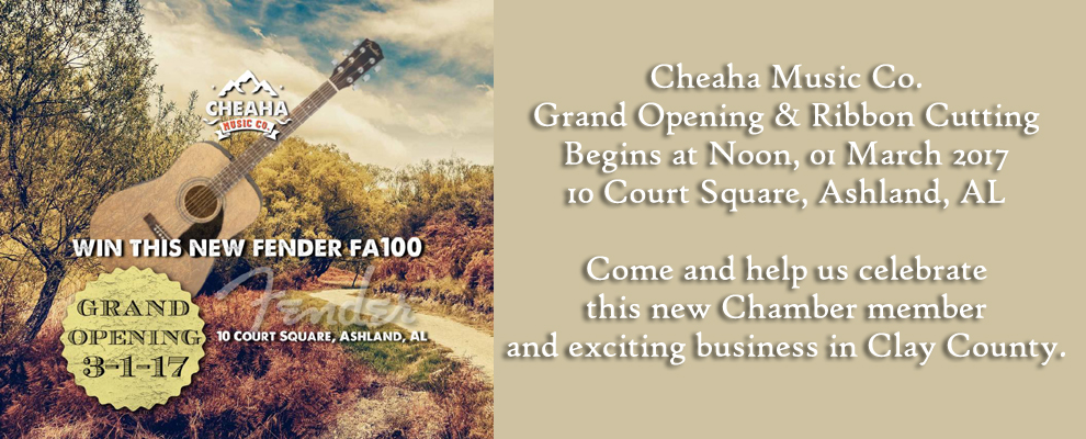 Grand Opening & Ribbon Cutting for Cheaha Music Co @ Cheaha Music Co. | Ashland | Alabama | United States