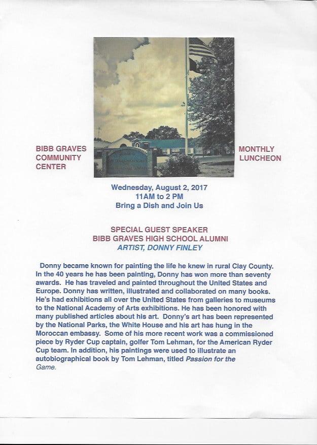 Bibb Graves Center August Luncheon @ Bibb Graves Community Center   Millerville   Alabama   United States